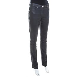 Escada Grey Coated Stretch Denim Straight Leg Jeans XL 201380