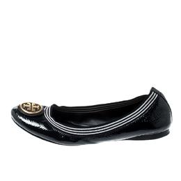 Tory Burch Blue Patent Leather Caroline Ballet Flats Size 37.5