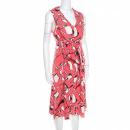 Escada Pink and White Abstract Print Silk Sleeveless Tie Up Dress M