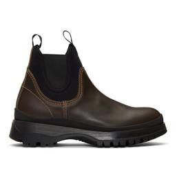 Prada Brown Chelsea Boots 2TE147 3V75