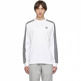 Adidas Originals White 3-Stripes Long Sleeve T-Shirt 192751M21302803GB