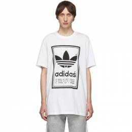 Adidas Originals White and Black Backwards Logo T-Shirt 192751M21303501GB