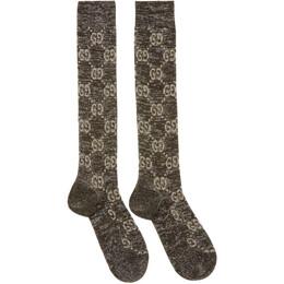 Gucci Black and Silver Crystal GG Socks 476525 3G199