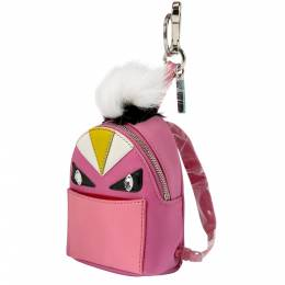 Fendi Pink Nylon and Leather Monster Backpack Charm 201704