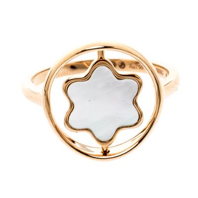 Montblanc Rotating Emblem Mother of Pearl 18k Rose Gold Ring Size 56 201747 - 1