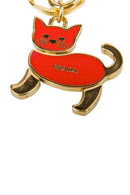 Prada Red Enamel Gold Tone Cat Bag Charm / Key Ring 201699