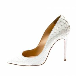 Christian Louboutin White Python Leather So Kate Pointed Toe Pumps Size 35.5 315479