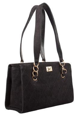 Chanel Black Nubuck Leather Chain Shoulder Bag 201815