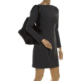 Furla Black Fur Caos Drawstring Bucket Bag