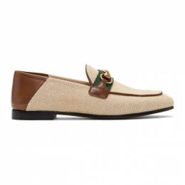 Gucci Beige Horsebit Web Loafers 583363 98B20