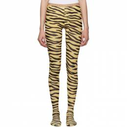 Gucci Black and Beige Zebra Print Tights 577363 3G245