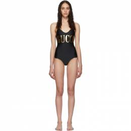 Gucci Black and Gold Logo One-Piece Swimsuit 574126XJA8Q