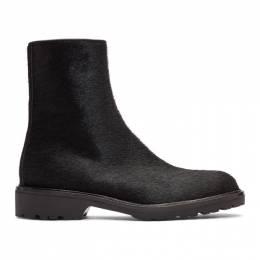 Dries Van Noten Black Pony Hair Zip Boots MW26/422 QU267
