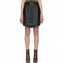 Nanushka Black Vegan Leather Sils Button Front Miniskirt PF19.05.020