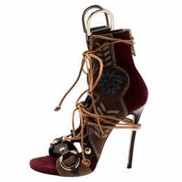Dsquared2 Multicolor Suede And Leather Eskimo Studded Sandals Size 39 200094