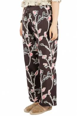 Marni Dark Raisin Honan Kew Print Cotton Silk Wide Leg Trousers S 201628