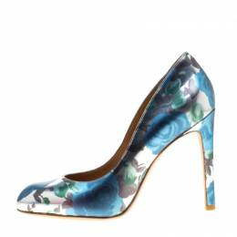 Marc By Marc Jacobs Metallic Silver Floral Printed Foil Leather Pumps 38.5 186612