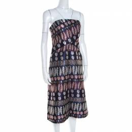 Tory Burch Navy Blue Lurex Fern Patterned Pleated Bodice Strapless Dress S 200000