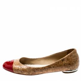 Chanel Beige Cork And Red Patent Leather CC Cap Toe Ballet Flats Size 38 199997