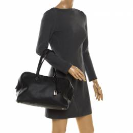 Hermes Black Leather Victoria II Fourre Tout 35 Bag 200141