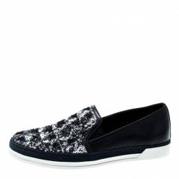 Tod's Blue Leather Sequin Embellished Espadrille Slip On Sneakers Size 37 200341