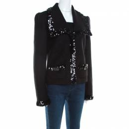 Dolce&Gabbana Black Wool Sequined Edge Blazer M