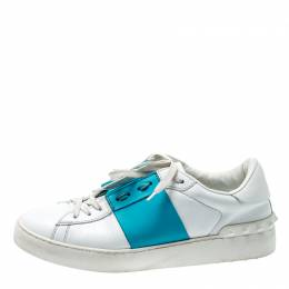 Valentino White And Blue Band Leather Open Low Top Sneakers Size 39 200479