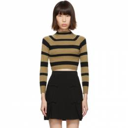 Miu Miu Tan and Black Stripe Cashmere Turtleneck MML241 Q8E