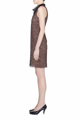 Vera Wang Collection Black Floral Lace High Cowl Neck Sleeveless Dress S 203612