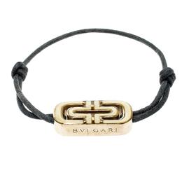Bvlgari Parentesi Bi-color Enamel Gold Tone Black Cord Adjustable Bracelet