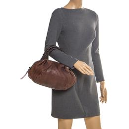 Fendi Dark Brown Pebbled Leather Spy Bag 204878