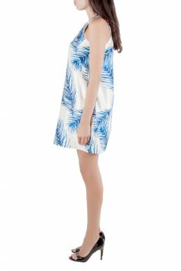 Tory Burch White and Blue Baltic Sea Feather Printed Silk Sleeveless Dress M 204616