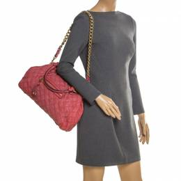 Marc Jacobs Pink Quilted Leather Stam Shoulder Bag 204845