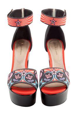 Nicholas Kirkwood Multicolor Printed Satin Platform Ankle Cuff Platform Sandals Size 38 204846