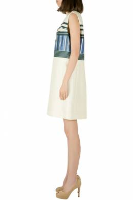 Tory Burch Indigo Plaited Engineered Stripe Cotton Silk Mikado Dress S 204596