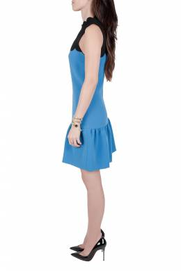 Victoria, Victoria Beckham Blue Contrast Scalloped Yoke Flounce Dress M 204595