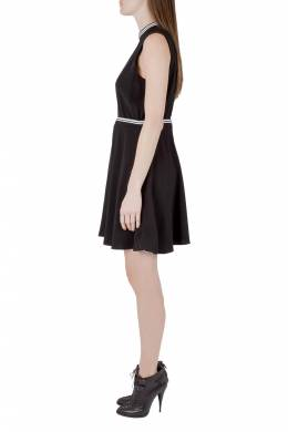 Victoria, Victoria Beckham Black Crepe Ribbed Trim Sleeveless Mini Dress M 204606