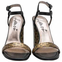 Lanvin Black/Gold Fabric and Leather Ankle Strap Block Heel Sandals Size 38 204857
