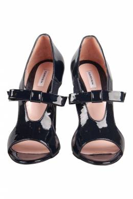 Carven Black Patent Leather Bow Cut-Out Sandals Size 37
