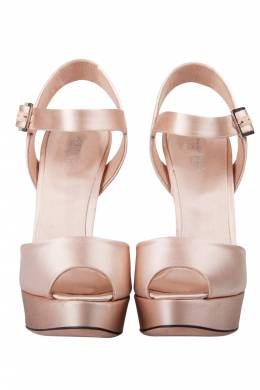 Giambattista Valli Beige Satin kirna Peep Toe Ankle Strap Platform Sandals Size 38 204019