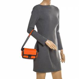 Bottega Veneta Orange/Black Intrecciato Leather Mini Glass Shoulder Bag 205489