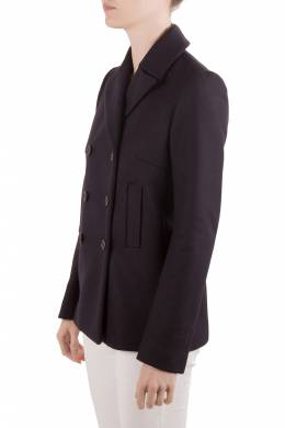 Joseph Navy Blue Felted Wool Double Breasted Yosh Pea Coat M