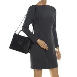 Salvatore Ferragamo Black Leather Kelly Top Handle Bag 203642