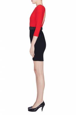 Alice + Olivia Red and Black Crepe Ira Sheath Dress S 204507