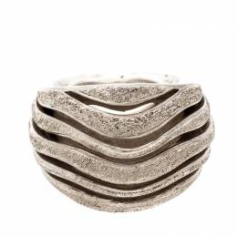 Montblanc Dome Waved Textured Silver Cocktail Ring Size 56 205907