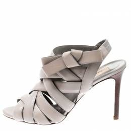 Valentino Grey Leather Peep Toe Strappy Open Toe Sandals Size 37 206071