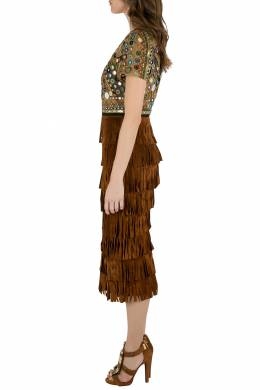 Burberry Prorsum Russet Brown Mirror Embellished Fringed Suede Midi Dress S 203647