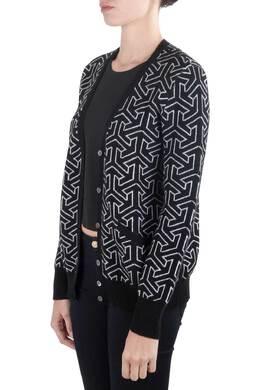 Equipment Femme Black and Ivory Cashmere Wool Jacquard Sullivan Cardigan M