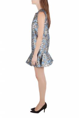 Mary Katrantzou Silver and Blue Metallic Drop Waist Jaspa Dress S 203948