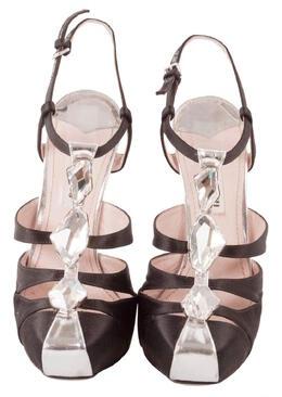 Miu Miu Black Satin Bejeweled T-Strap Platform Sandals Size 37.5 205892